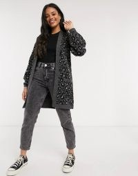 Abercrombie & Fitch longline cardi in grey leopard | animal patterned cardigans