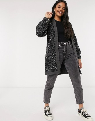 Abercrombie & Fitch longline cardi in grey leopard | animal patterned cardigans - flipped