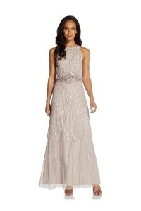 ADRIANNA PAPELL BEADED BLOUSON GOWN IN MARBLE / shimmering event gowns / long sequinned dresses