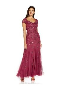 ADRIANNA PAPELL BEADED COVERED GOWN IN DUSTY ROUGE / squin covered gowns / long sequinned occasion dresses