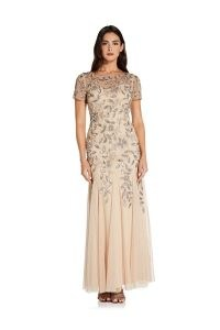ADRIANNA PAPELL BEADED GOWN WITH GODETS IN TAUPE/PINK / floral gowns / sequinned occasion dresses