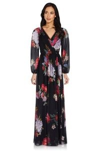 ADRIANNA PAPELL FLORAL CHIFFON GOWN IN BLACK MULTI / evening gowns / event wear