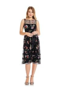 ADRIANNA PAPELL FLORAL EMBROIDERED DRESS IN BLACK MULTI / sleeveless occasion dresses