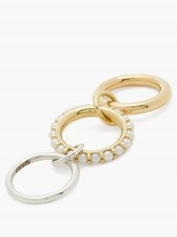 SPINELLI KILCOLLIN Akoya pearl, 18kt gold & sterling silver ring ~ linked stacking rings ~ pearls ~ modern design jewellery