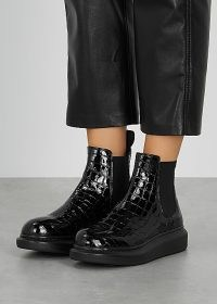 ALEXANDER MCQUEEN Hybrid crocodile-effect leather Chelsea boots / black patent croc embossed boots