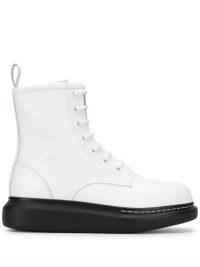 Alexander McQueen Hybrid lace-up boots / white flatform boot / monochrome flatforms