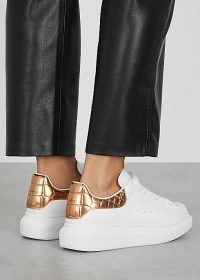 ALEXANDER MCQUEEN Larry white leather sneakers / sports luxe trainers
