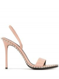 Alexander Wang Nova leather sandals in sandstone pink | stud trim stiletto heel slingbacks | party heels