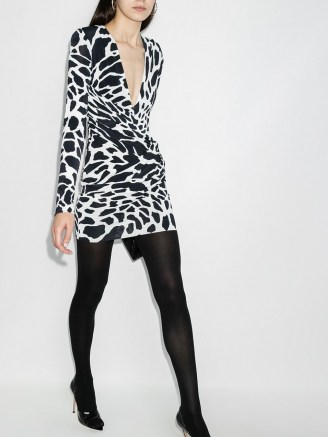 Alexandre Vauthier animal-print wrap mini dress / plunging neck dresses / deep V neck evening wear - flipped