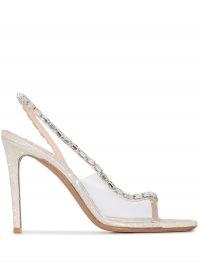 Alexandre Vauthier Elizabeth 100 mm glitter embellished sandals ~ glamorous clear slingbacks