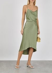 ALICE + OLIVIA Maeve sage satin midi skirt / green high low skirts