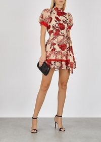 ALICE + OLIVIA Regan fil coupé chiffon dress / romantic style occasion wear / puff sleeve, tiered skirt party dresses