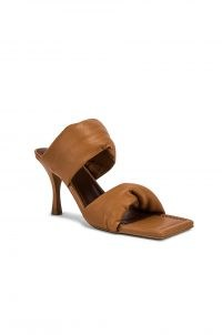 ALOHAS Twist Strap Mule Camel | brown square toe padded strap mules