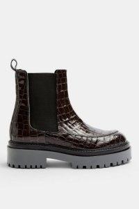 TOPSHOP ALONZO Khaki Crocodile Chunky Leather Boots / croc effect footwear