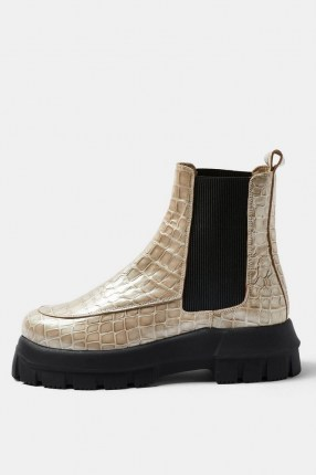 TOPSHOP ALPHA Stone Chunky Chelsea Boots / thick sole croc effect boots - flipped