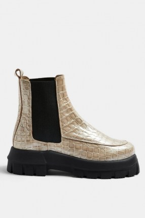 TOPSHOP ALPHA Stone Chunky Chelsea Boots / thick sole croc effect boots