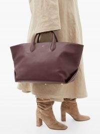 KHAITE Amelia medium leather tote bag ~ burgundy bags ~ autumn and winter accessory colours
