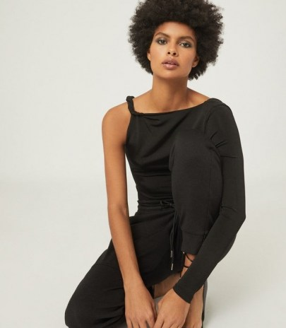 REISS AMINA TWIST SHOULDER TOP BLACK ~ contemporary one sleeve tops - flipped