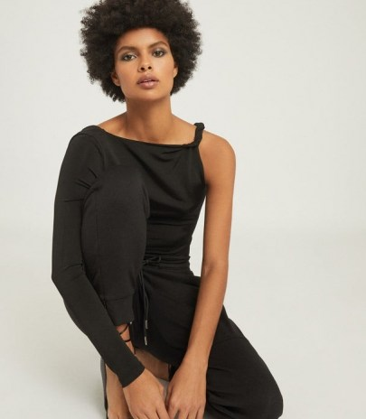 REISS AMINA TWIST SHOULDER TOP BLACK ~ contemporary one sleeve tops