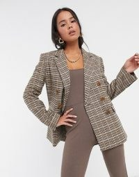 & Other Stories check double breasted blazer in beige / checked jacket with padded shoulders