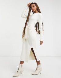 & Other Stories eco ribbed tie waist knitted dress in off white   rib knit dresses