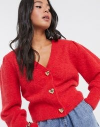 & Other Stories gold heart button puff sleeve cardigan in red   puff sleeve cardigans