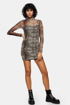 TOPSHOP Animal Print Mesh Mini Bodycon Dress / semi sheer high neck dresses / fitted fashion - flipped
