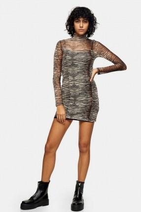 TOPSHOP Animal Print Mesh Mini Bodycon Dress / semi sheer high neck dresses / fitted fashion