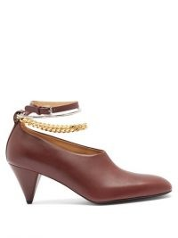 JIL SANDER Anklet-chain leather cone-heel pumps / shoes with ankle chains