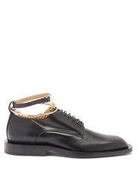 JIL SANDER Anklet-chain leather Derby shoes / smart lace up flats with ankle chains attached