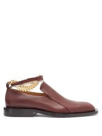 JIL SANDER Anklet-chain leather loafers / shoes ebmellished with ankle chains