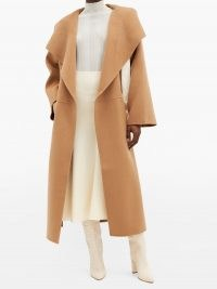 TOTÊME Annecy double-faced wool-blend coat ~ chic camel brown coats ~ wide draped collar