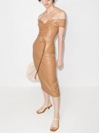 ANOUKI bardot belted mid-length dress ~ brown off the shoulder dresses