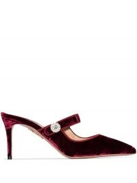Aquazzura Astor 75mm mules – luxe burgundy-red pointed mule