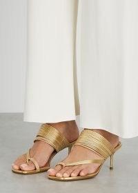 AQUAZZURA Sunny 60 gold leather sandals / strappy metallic heels