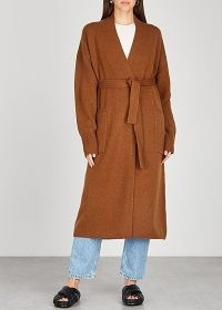 ARCH4 Franklin brown belted cashmere cardigan ~ longline tie waist cardigans