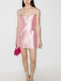 AREA crystal embellished mini dress in pink | spaghetti strap party dresses