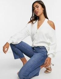 ASOS DESIGN cardigan with cut out detail in cream   cold shoulder cardigans   ontrend knitwear