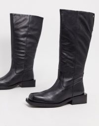ASOS DESIGN Charly premium leather trucker knee boots in black | squared off toe winter boots | casual footwear