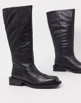 ASOS DESIGN Charly premium leather trucker knee boots in black   squared off toe winter boots   casual footwear - flipped