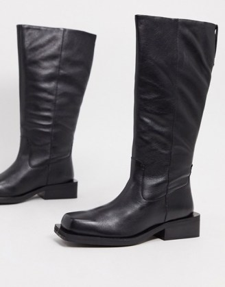 ASOS DESIGN Charly premium leather trucker knee boots in black   squared off toe winter boots   casual footwear