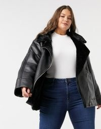 ASOS DESIGN Curve borg aviator jacket in black / faux fur lined jackets / fashionable winter outerwear / plus size fashion