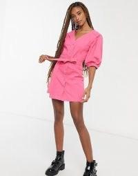 ASOS DESIGN denim multi stitch belted dress in bright pink | casual weekend dresses