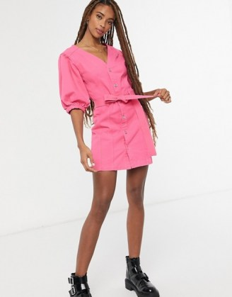 ASOS DESIGN denim multi stitch belted dress in bright pink | casual weekend dresses - flipped