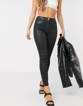 ASOS DESIGN Hourglass 'lift and contour' skinny jeans in coated black | sculpting denim skinnies - flipped
