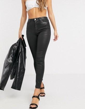 ASOS DESIGN Hourglass 'lift and contour' skinny jeans in coated black | sculpting denim skinnies