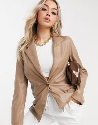 ASOS DESIGN jersey leather look dad suit blazer in tan ~ brown jackets