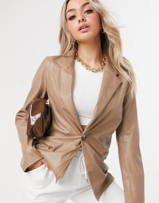 ASOS DESIGN jersey leather look dad suit blazer in tan ~ brown jackets - flipped