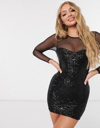 ASOS DESIGN long sleeve sequin mini dress in black ~ lbd - flipped
