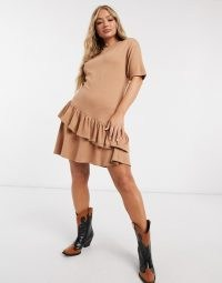 ASOS DESIGN mini dress with frill asym hem in camel